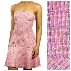 Bebe | Pink Tweed Strapless Fit & Flare Dress